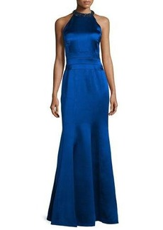 Kay Unger New York Embellished Halter-Neck Mermaid Gown