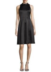 Kay Unger New York Embellished-Neck Fit-&-Flare Dress