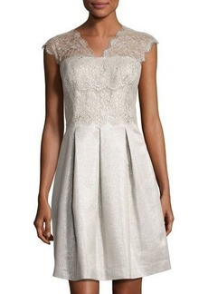 Kay Unger New York Fit-and-Flare Lace-Trim Dress