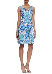 Kay Unger New York Floral-Brocade Cocktail Dress