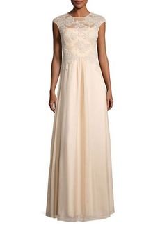 Kay Unger New York Floral-Embroidery Chiffon-Overlay Gown