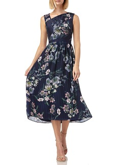 Kay Unger New York Floral-Print Asymmetric-Neck Sleeveless Midi Chiffon Dress