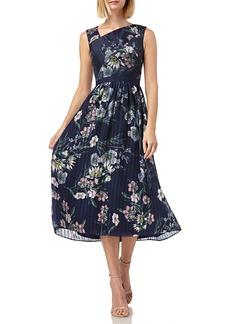 Kay Unger New York Floral-Print Asymmetric-Neck Sleeveless Midi Chiffon Dress