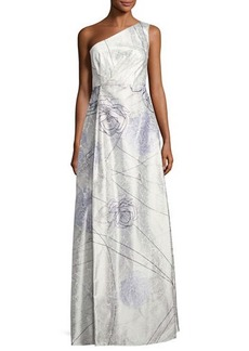 Kay Unger New York Floral-Print One-Shoulder Gown