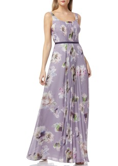 Kay Unger New York Floral-Print Scoop-Neck Sleeveless Chiffon Dress w/ Front Pleating