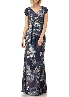 Kay Unger New York Floral-Print Striped Chiffon Tulip-Sleeve Blouson Gown