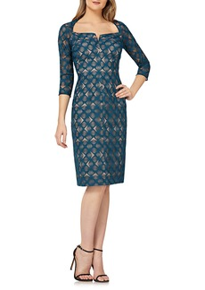 Kay Unger New York Geometric Lace Dress w/ Portrait Collar