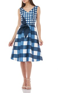 Kay Unger New York Gingham Mikado Sleeveless Dress w/ 3D Architectural Flower Detail