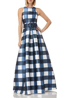 Kay Unger New York Gingham-Printed Sleeveless Mikado Gown w/ Belt & Pockets