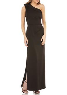 Kay Unger New York Jeweled One-Shoulder Gown w/ Sunburst Pleats