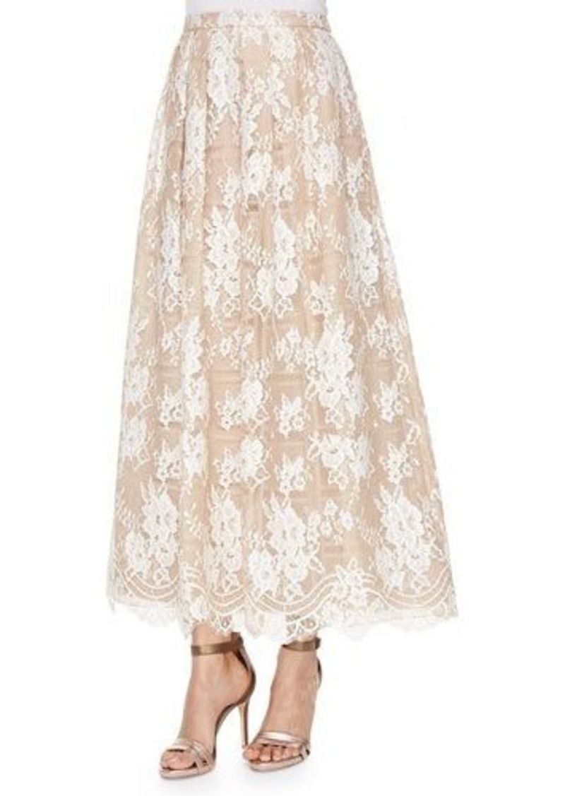 Kay Unger New York Lace Beaded Tea-Length Skirt