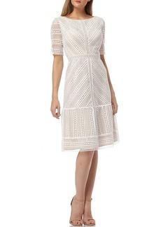 Kay Unger New York Mitered Lace Bateau-Neck Short-Sleeve A-Line Dress