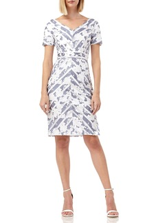 Kay Unger New York Mitered-Stripes Portrait-Neckline Short-Sleeve Dress