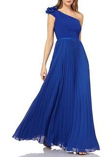 Kay Unger New York One-Shoulder Chiffon Gown w/ Pleated Skirt