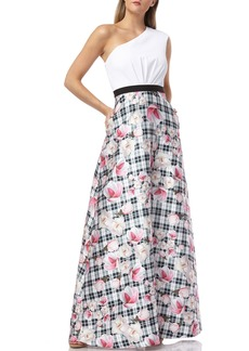 Kay Unger New York One-Shoulder Gown with Printed Mikado Skirt and Gathered Waist