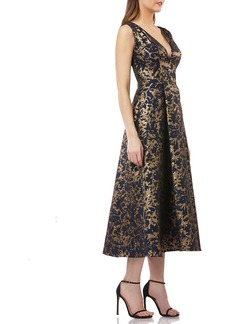 Kay Unger New York Pleated Fit-and-Flare Midi Cocktail Dress w/ Pockets