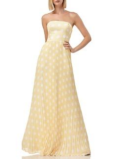 Kay Unger New York Polka-Dot Strapless Pleated Skirt Gown