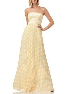Kay Unger New York Polka-Dot Strapless Pleated Skirt Gown