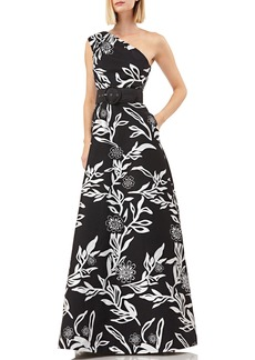 Kay Unger New York Printed One-Shoulder Sleeveless Jacquard Gown w/ Pockets & Novelty Belt
