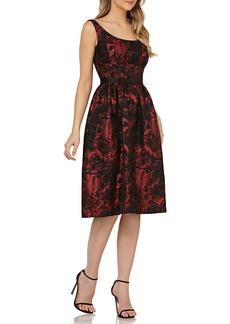 Kay Unger New York Scoop-Neck Jacquard Dress w/ Pockets