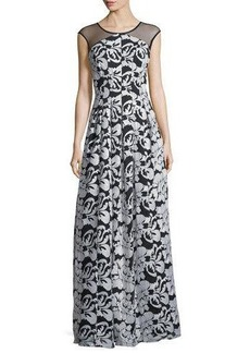 Kay Unger New York Sequin Embroidered Illusion-Yoke Gown