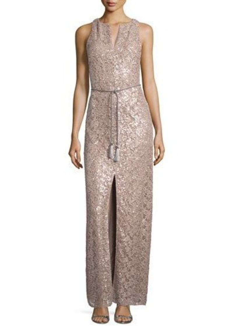 Kay Unger New York Sequined Evening Gown with Belt