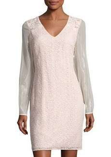 Kay Unger New York Sequined Lace Sheath Dress