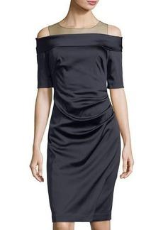 Kay Unger New York Shirred-Waist Off-the-Shoulder Sheath Dress