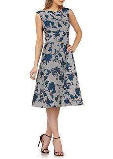 Kay Unger New York Sleeveless Floral Dress w/ Mitered Stripes