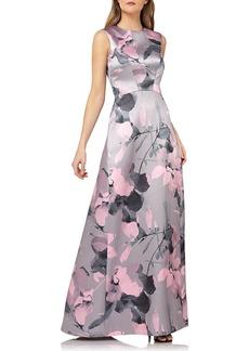 Kay Unger New York Sleeveless Floral-Print Mikado Gown