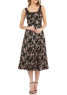 Kay Unger New York Sleeveless Mesh Dress w/ Sequins