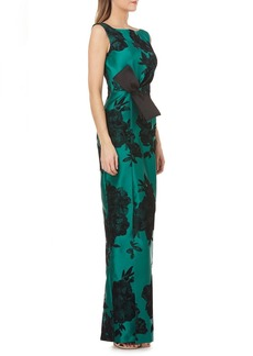 Kay Unger New York Sleeveless Mikado Dress w/ Sunburst Pleats