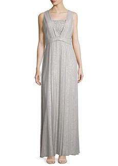 Kay Unger New York Sleeveless Sequin-Front Pleated Gown