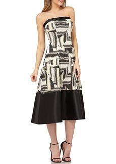Kay Unger New York Strapless Colorblock Mikado Dress in Stretch Jacquard