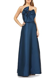 Kay Unger New York Strapless Gown w/ 3D Bow & Pockets