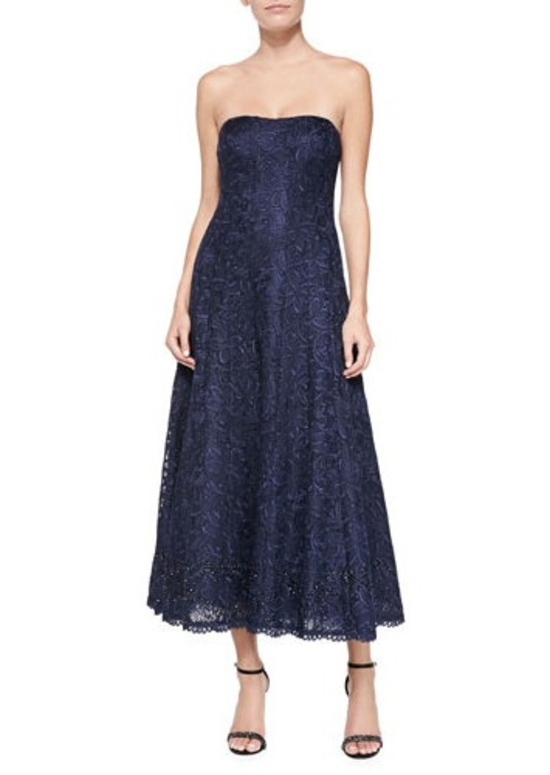 Kay Unger New York Strapless Lace Tea-Length Cocktail Dress
