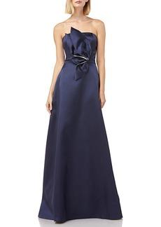 Kay Unger New York Strapless Mikado Ball Gown w/ 3D Flower Detail & Pockets