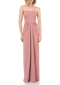 Kay Unger New York Strapless Sweetheart Draped Stretch-Crepe Column Gown