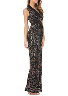 Kay Unger New York Stretch Velvet Gown w/ Sequins & Satin