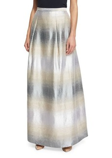 Kay Unger New York Striped Jacquard A-Line Skirt