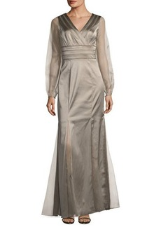 Kay Unger New York V-Neck Satin Gown w/ Chiffon Sleeves