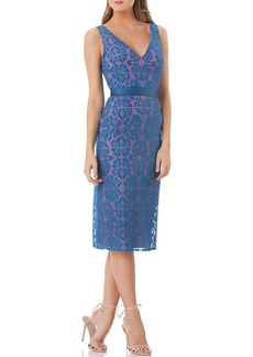 Kay Unger New York V-Neck Sleeveless Lace Sheath Dress with Grosgrain Ribbon