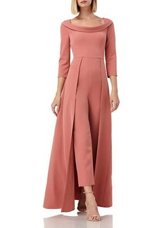 Kay Unger New York Walk Thru Boat-Neck 3/4-Sleeve Jumpsuit w/ Crepe Overlay Skirt