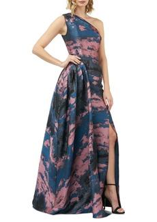 Kay Unger New York Kay Unger Noelle One-Shoulder Jacquard Gown