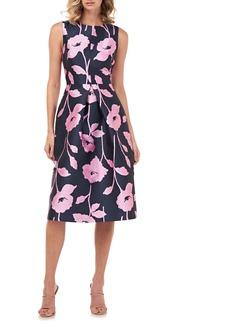 Kay Unger New York Kay Unger Nola Floral Jacquard A-Line Dress