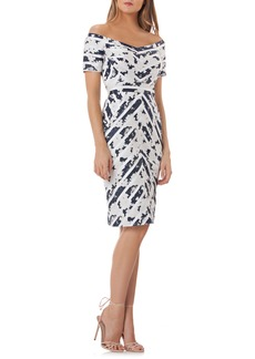 Kay Unger New York Kay Unger Off the Shoulder Jacquard Sheath Dress