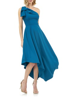 Kay Unger New York Kay Unger One-Shoulder Asymmetrical Crepe Cocktail Dress