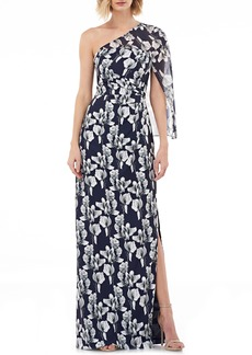 Kay Unger New York Kay Unger One-Shoulder Capelet Gown