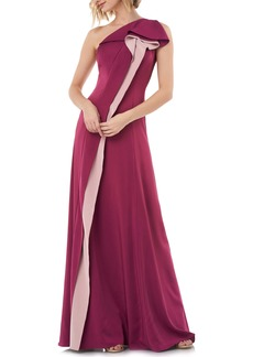 Kay Unger New York Kay Unger One-Shoulder Contrast Ruffle Faille Gown