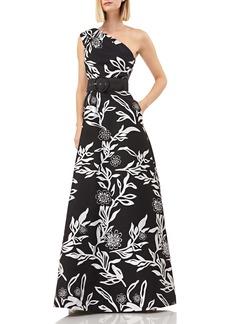 Kay Unger New York Kay Unger One-Shoulder Jacquard Gown